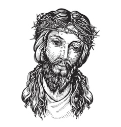 Jesus Christ with thorny wreath on his head vector image