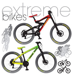 mountain bikes vector image vector image