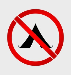 No camping prohibition sign vector image vector image