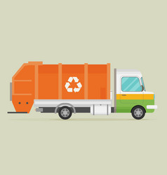 Orange garbage truck transportation flat vector