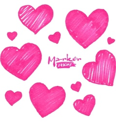 Pink marker stains textured hearts set vector image