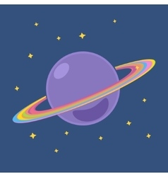 Planet Saturn with Stars in Outer Space vector image vector image