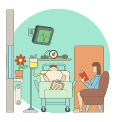 Sick man lies in hospital ward concept flat style vector
