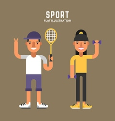 Sport concept tennis and fitness male and female vector
