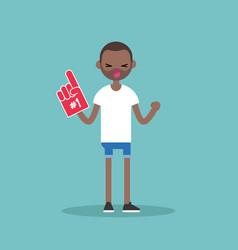 Young black fan wearing foam finger flat editable vector