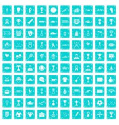 100 medal icons set grunge blue vector