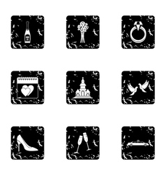 Marriage icons set grunge style vector