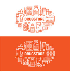 Medical drugstore banner pharmacy vector