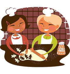 Kids baking cookies vector image