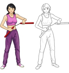 Asian nunchuck girl in sport uniform vector