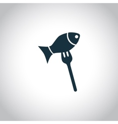 Fish on a fork icon vector