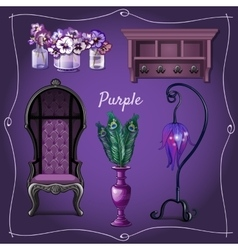 Furniture and interior decoration with purpele vector image