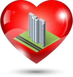 Heart icon with isometric building inside vector