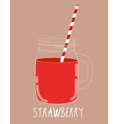 Fresh strawberry smoothie healthy food vector