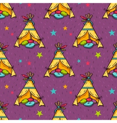 Seamless pattern with indian wigwam for kids room vector