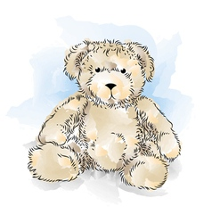 Drawing teddy bear color vector