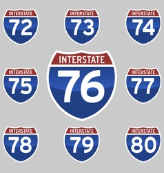 Interstate sings 72-80 vector