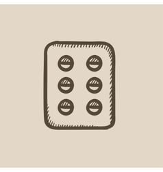Plate of pills sketch icon vector