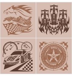 Auto racing emblems - Sport car logo vector image vector image