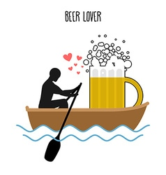 Beer lover Man and beer mugs and ride in boat vector image vector image