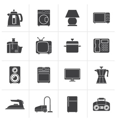 Black home equipment icons vector