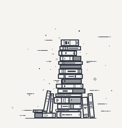 Book pile line infographics vector