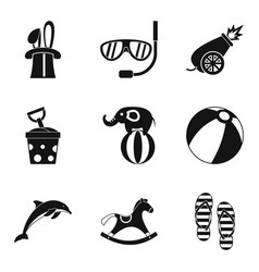 children industry icons set simple style vector image vector image