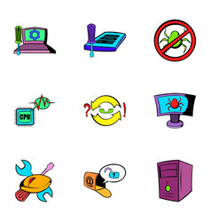 Computer virus icons set cartoon style vector
