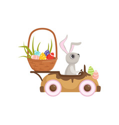 cute little bunny driving vintage car with easter vector image