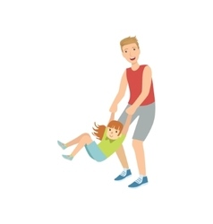 Dad Spinning His Daughter Holding Her Wrists vector image vector image