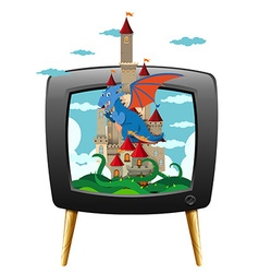 Dragon and castle on television screen vector image vector image
