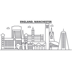 England manchester architecture line skyline vector