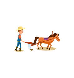Farmer and horse plowing isolated icon vector