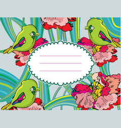 flower card with birds vector image