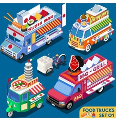 Food Truck Set01 Vehicle Isometric vector image vector image