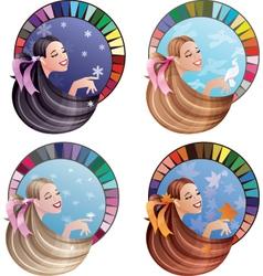 four season type girl vector image