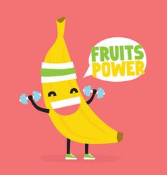 Fruits power cute kawaii banana bodybuilder vector
