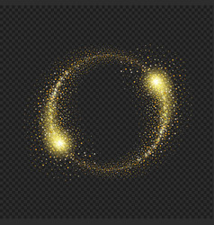 Gold glittering star dust circle vector