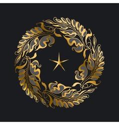 Gold wreath art nouveau style vector
