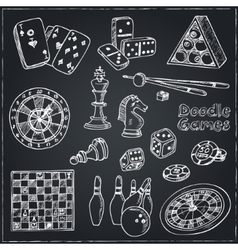 Hand drawn doodle Games set Chess piece casino vector image