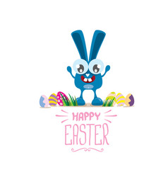 Happy easter greeting card with color eggs vector