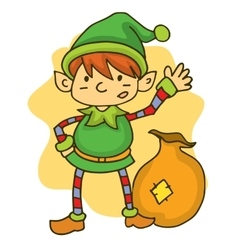 Happy elf with gift bag christmas vector