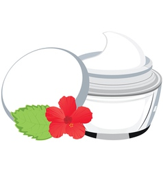 jar with cream hibiscus vector image vector image