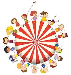 Kids forming a big circle vector image