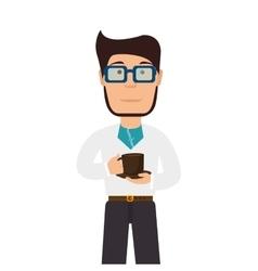 Man cartoon drink coffee mug vector