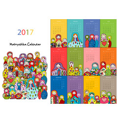 matryoshka calendar 2017 design vector image