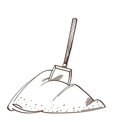 Monochrome shovel in a pile of snow isolated on vector