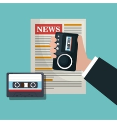 News tape recorder cassette graphic vector