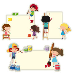 Paper template with kids painting on paper vector