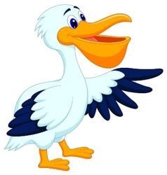 Pelican bird cartoon waving vector
